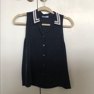 Equipment silk navy blue blouse